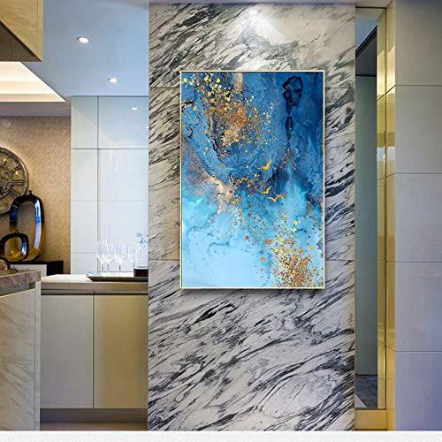 KWzEQ Moderne dekorative Malerei einfache abstrakte Meerblau und Gold Sand nordische Wandbild Wohnzimmer Leinwand Malerei,Rahmenlose Malerei,45x67cm