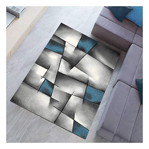 UN AMOUR DE TAPIS - Tapis Salon Moderne Design Poils Ras - Grand Tapis Salon Rectangulaire - Tapis Chambre Turquoise - Tapis Salon Bleu Gris 160x230 cm