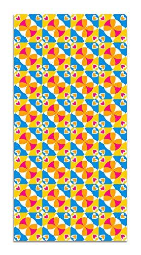 Panorama Agatha Ruiz de la Prada Alfombra Vinílica Hidráulico Crema Corazones Mosaico Colores Ladeado 100x140cm - Alfombra Cocina Vinilo - Alfombra Salón Antideslizante e Ignífuga Alfombras PVC