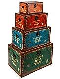 ts-ideen Ensemble de 4 coffres ou valises Impression 'Tour Eiffel' Bois Style vintage Chambre, salon, salle à manger, entrée