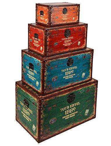 ts-ideen Set di 4 comodini - Effetto Valigia - Tour Eiffel 1889' - Stile: Shabby/Used Look/Antico - Legno
