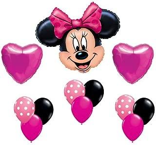 Minnie Mouse Pink Polka Dot Heart Mylar Latex Birthday Balloon Set