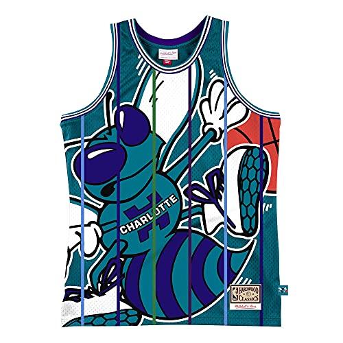 Mitchell & Ness M&N Big Face 2.0 - Camiseta de baloncesto HWC Charlotte Hornets, Hombre, Azul verdoso, XXL