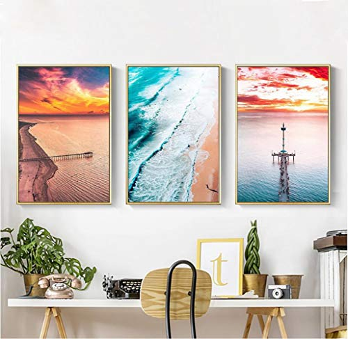 Lunderliny Canvas Printings Landscape Decorative Painting Nordic Simple Seascape Canvas Prints For Living Room Home Decor Modular Wall Artwork Unframed A