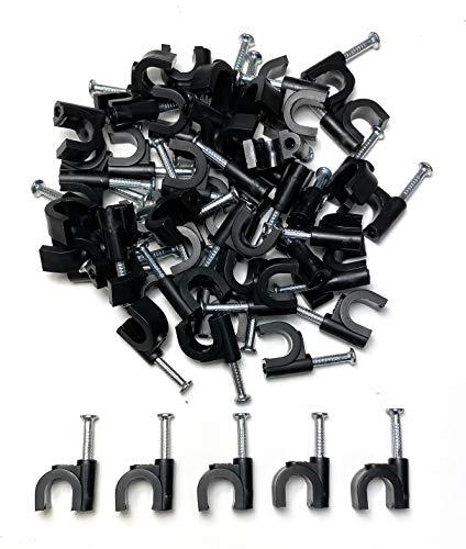 Kabelschellen Nagelschellen für Kabel 8mm, Schwarz 50 Stück