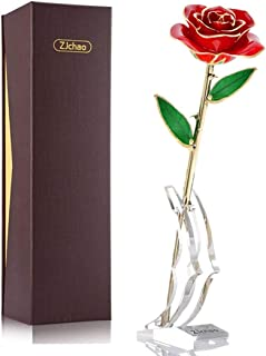 ZJchao 24K Red Plated Gold Rose Gifts for Her Valentine's Day, Eternity Love Real Golden Plated Preserved Forever Rose Flower with Rose Stand Present for Wife/Girlfriend/Lover/Lady (Red)