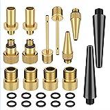 Bellaluee 14 unids/Set + 10 boquillas de conversión de válvula de Bicicleta arandela Adaptador de válvula de Bicicleta SV DV AV Boquilla de válvula de Bicicleta Accesorios de Bomba