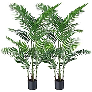 Silk Flower Arrangements Ferrgoal Artificial Plants Fake Plant Areca Palm Tree Plant in Pot Fake Yellow Palm 5.2 Feet Faux Plants for Home Office Indoor Outdoor Modern Decor Housewarming Gift 2 Pack