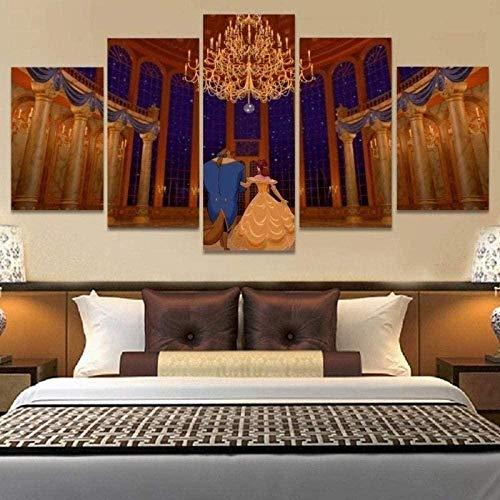 NC89 5 Piezas de Lienzo Arte Moderno,HD,póster Modular,Cuadros,Marco,Lienzo Grande,Arte para Sala de Estar,decoración de Oficina,Regalo/La Bella y la Bestia,tamaño Total