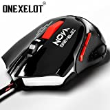 ONEXELOT Gaming Mouse Wired LED Optical,6 Buttons with 800/1400/1800/2400 DPI for Pc/Mac/Notebook(7 Colors Breath LED Backlight )(Black) mod NOVA
