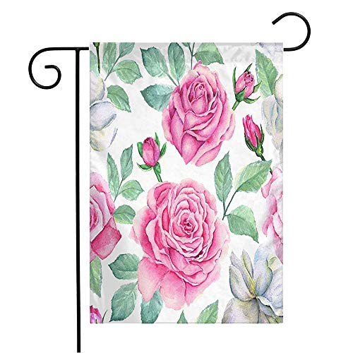 Ingramcontent Garden Flag Yard Decorations Green Beautiful Watercolor Flower Pattern Abstract Pink Beauty Bloom Blossom Botanical Bouquet Outdoor Small Polyester Flag Double Sided 12' x 18'