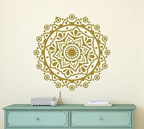 Multi kleuren en Diverse Mandala Bloem Art Muurschildering Behang Yoga Studio Stijlvolle Behang Decals Home Decoratie Verwijderbare Stickers 57x57CM Goud
