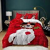 Juego de ropa de cama 3D con dibujo de perro carlino y animales (220 x 240 cm)