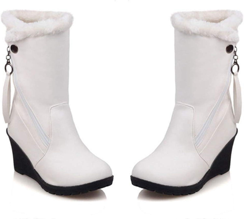 Elsa Wilcox Women Round Toe Waterproof Slip-On Short Bootie Fur Winter Warm Snow Boot Mid Calf Wedge Boots