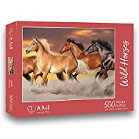 ジグソーパズル 野生の馬 アート 500ピース ティーンの大人が育ったゲーム 教育 エンターテイメント ギフト 室内装飾
