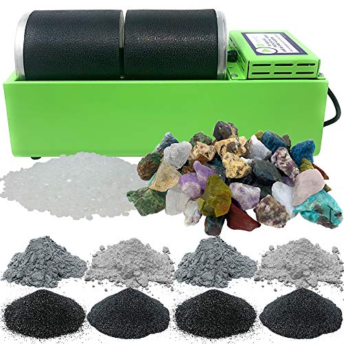 WireJewelry Double Barrel Rotary Rock Tumbler Madagascar Mix Deluxe Kit, Includes 3 Pounds of Rough...
