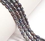 35 perlas de agua dulce, perlas cultivadas de 5 mm, color gris y negro, grano de arroz natural, ovalado, barroco, piedras preciosas, piedras preciosas para enhebrar, perlas de agua fresca