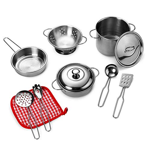 Playkidz: Super Durable 11 Piece Stainless Steel Pots and Pans Cookware Playset - $9.99 @ Amazon + FS with Prime