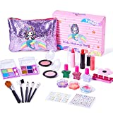 Yetech Kids Washable Makeup Set, 23PCS Safety Tested Real Cosmetics Kit for Kids With Mermaid Bag Birthday...