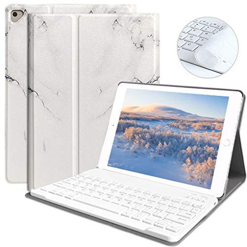 iPad 9.7 キーボードケース 9.7インチiPad 第5世代/第6世代 キーボードケース Bluetooth 脱着式キーボード ワイヤレスbluetoothキーボード 手帳型 多角度調整 US配列 iPad 2018 / 2017 / Pro 9.7 / Air/Air 2 iPadカバー 通用 (ホワイト)