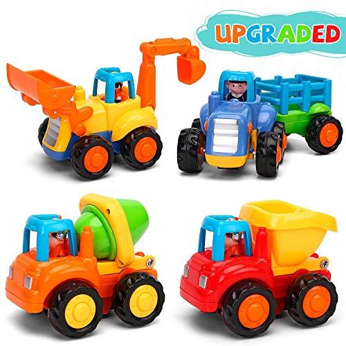 GoStock Baby Spielzeugauto Spielsachen Baufahrzeuge für Kinder 12 18 Monate, Spielzeug Auto für Kleinkind ab 1 2 3 Jahre, 4 in 1 Satz - Traktor, Bulldozer, Kipper, Zementmische