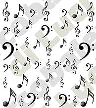 AWS Juego Water Decals Note y llaves musicales foglietto uñas Nail Art pegatinas transferencia de agua Sheet of Color Musical Key Note Stickers Llave de violín de sol de bajo Tatuaje, negro