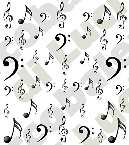 AWS Set Water Decals Note et clés musicales foglietto ongles Nail Art Stickers transfert à eau Sheet of color Musical Key Note Stickers Autocollants M