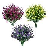 Nirmon 12 Paquetes de Flores de Lavanda Artificiales Flores Falsas Al Aire Libre para DecoracióN Plantas de ImitacióN JardíN Porche Ventana Ventana DecoracióN