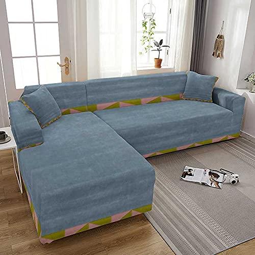 WXQY Moderne Geometrie Elastischer Sofabezug All Inclusive L-förmiger Stretch-Couchbezug Schonbezüge Sofabezug Sesselbezug A3 3-Sitzer