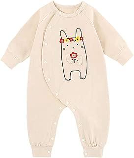 ALLAIBB Newborn Baby Unisex Cotton Cartoon Print Romper Spring Long Sleeve Jumpsuit