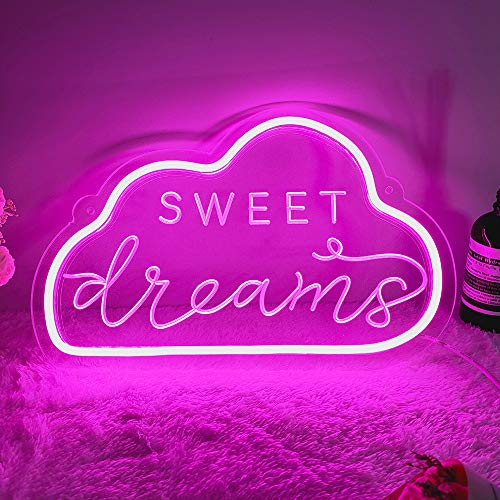DIVATLA Unique Sweet Dream Neon Sign with 3D Art,Powed by USB Neon Sign.Pink Neon Light Sign with Dimmable Switch. (Pink)