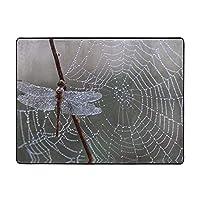 Spider Web Dragonfly カーペット,洗濯機で洗える160cmx120cm 寝室、居間、寮、滑り止めフロアマット、厚くて丈夫な フロアマット,人気のオシャレ カーペットランキング