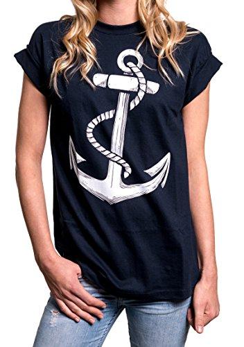 Longshirt Oversize Oberteile - Anker T-Shirt Damen blau XXXL