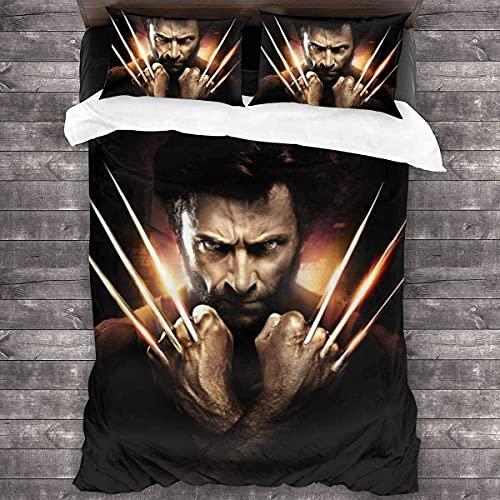 Juego de ropa de cama Wolverine Wolverine, muy suave, mullida, resistente a la luz, microfibra, cálida y transpirable, (Wolverine1,140 x 210 cm + 80 x 80 cm x 2)