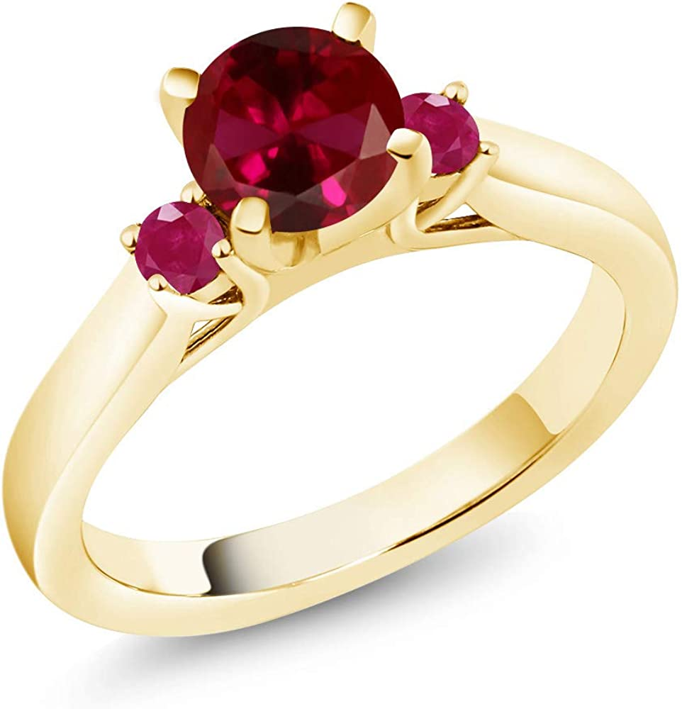 Gem Stone King 1.28 Ct Ranking Limited time sale TOP3 Red Pla Created Ruby 18K Gold Yellow