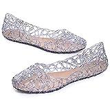 Stunner Women's Beach Jelly Shoes Slip on Crystal Summer Soft Hollow Ballet Flats Coffee 39 Grey