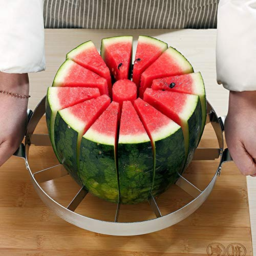 Extra Large Watermelon Slicer Kitchen Stainless Steel Fruit Slicer Cutter Peeler Corer Server for Cantaloup Melon,Pineapple,Honeydew Stainless Steel Slitters Cutting Tools