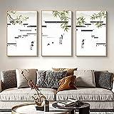 Impresión en lienzo Arquitectura china antigua Pinturas de pared de tinta Póster en blanco y negro Sala de estar Decoración para el hogar Imágenes 40x60cmx3pcs sin marco