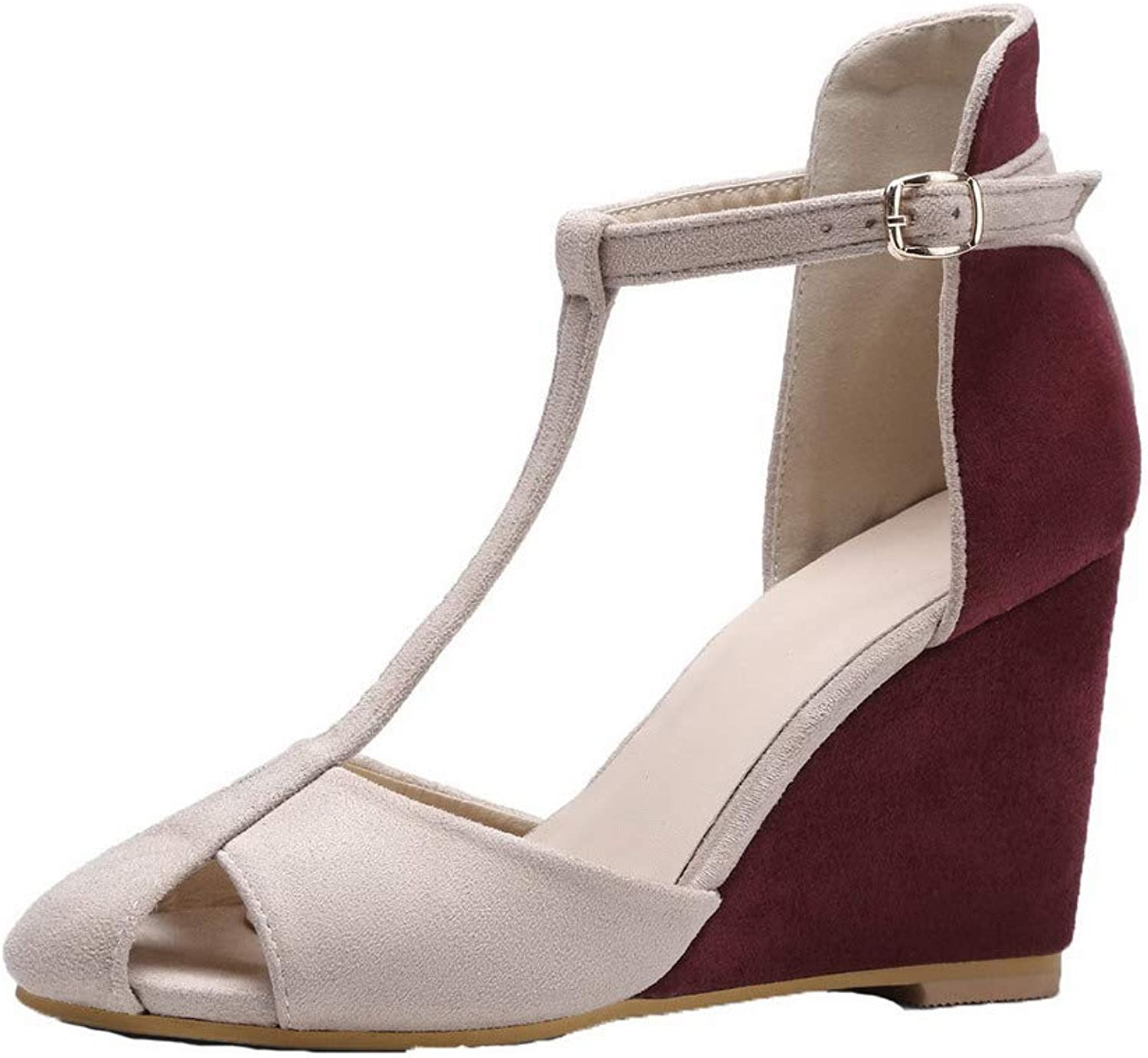 AmoonyFashion Women's Buckle High-Heels Imitated Suede Assorted color Sandals