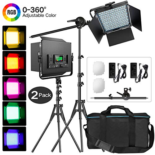 IVISII 2 Pack RGB LED Video Light with Stand Boom Arm,Full Color Output Dimmable 2600K-10000K Photography Lighting Kit,9 Applicable Scenes CRI97+ Light Panel for Video Shooting Studio YouTube