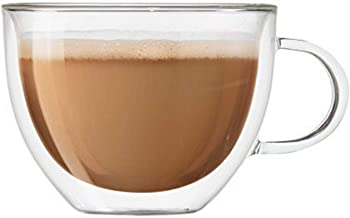 Oggi 6585 Set of 2 Double Walled Insulated 16-Ounce Borosilicate Glass Cappuccino Mugs