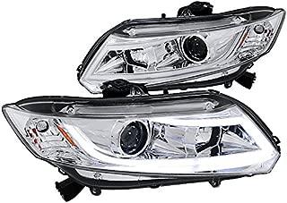 Spec-D Tuning 2LHP-CV12-8V2-TM Honda Civic LED Light Bar Projector Headlights Chrome