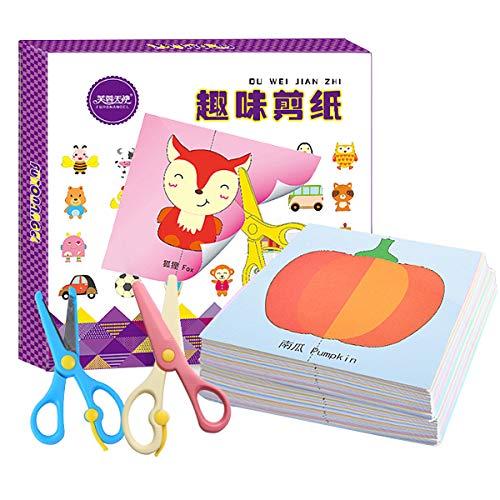Powcan Libro di attività delle Forbici di Taglio di Carta per Bambini con Coppia di Forbici Sicure per Bambini