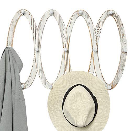 OROPY Perchero de Madera Extensible para Montar en la Pared con 13 Clavijas para Colgar Sombreros, Llaves, Bolsos, Tazas, Blanco rústico