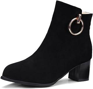 8989077818ab6e Oaleen Bottines Chelsea Femme Hiver Talon Moyen Anneau Effet Daim  Chaussures Boots Cheville Soirée