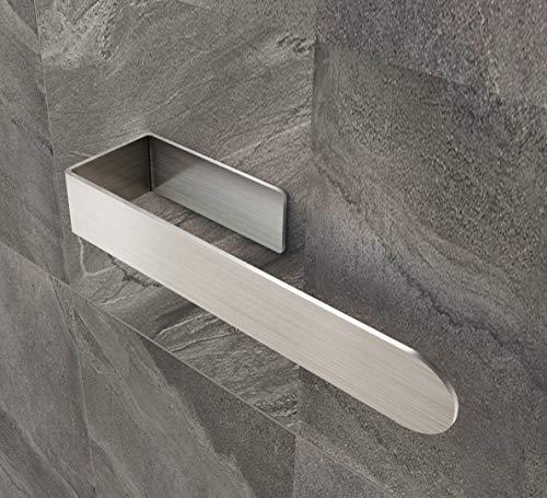 Onoper Toallero para baño, sin agujeros, autoadhesivo, anillo de acero inoxidable, 36 cm, color plateado