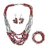 Handmade Coastal Stainless Steel Earrings Wrap Bracelet Multi Strand Necklace 22' Jewelry Set (Red)