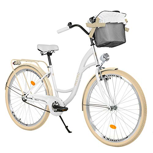 Milord. 28 Zoll 1-Gang Weiß-Creme Komfort Fahrrad mit Korb Hollandrad Damenfahrrad Citybike Cityrad Retro Vintage