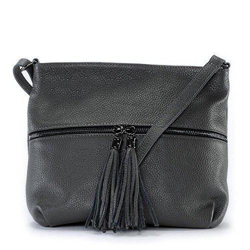 OH MY BAG - Leder Damen Handtasche - Tragbar als SCHULTER ? Modell LONDON - Genarbtes Leder