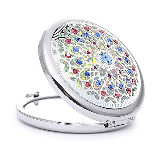 Miroir de maquillage - Silver Miroir de maquillage portable Crystal Drill Pliant portable Miroir de poche Princess Mirror